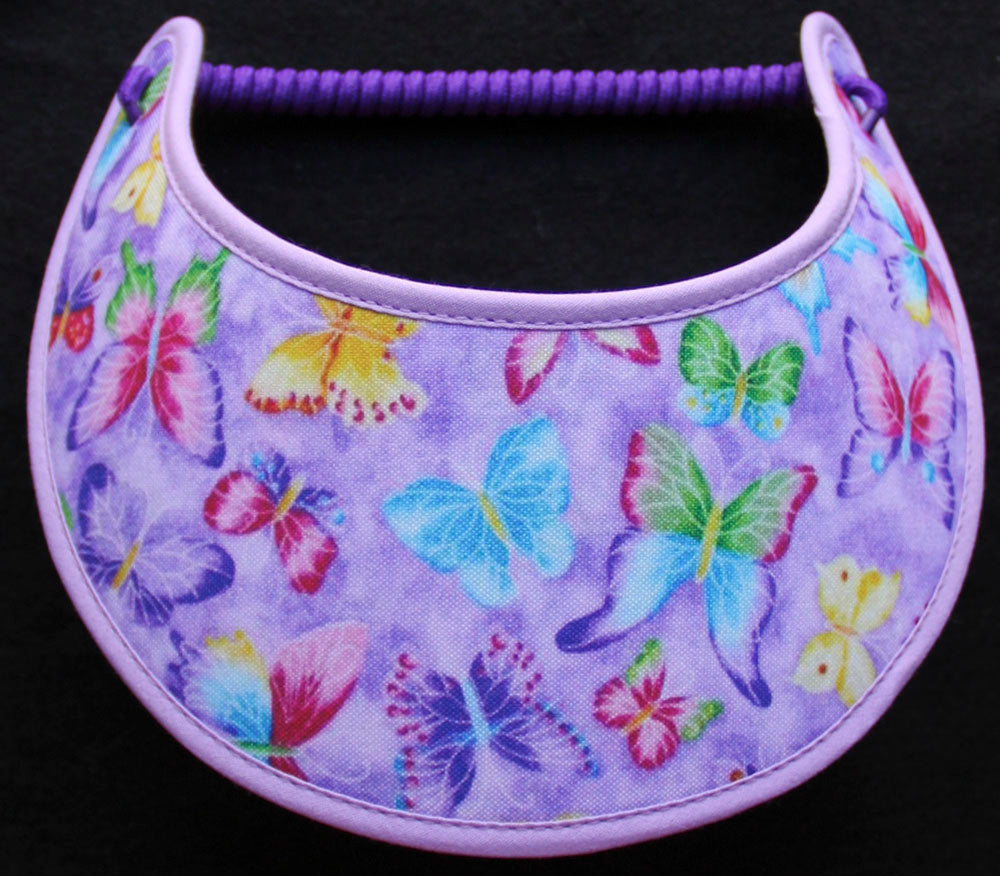 Foam sun visor colorful butterflies on lavender