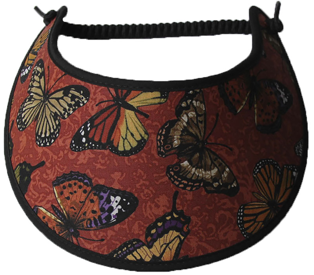 Foam sun visor with butterflies on rust background