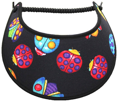Foam sun visor with large ladybugs on black