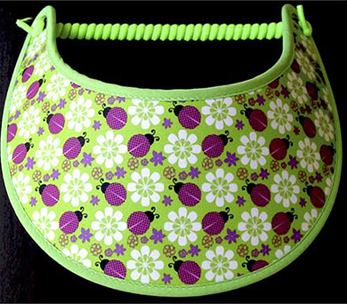 Foam sun visor with lady bugs and flowers on lime green