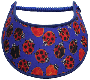 Foam sun visor with ladybugs on deep blue