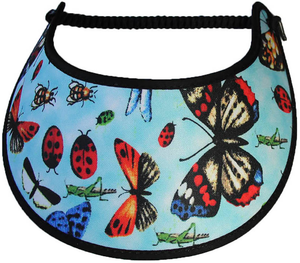 Foam sun visor with ladybugs & butterflies