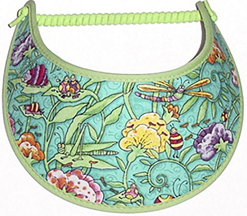 Foam sun visor with dragonflies, grasshopper & flowers