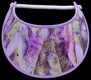 Foam sun visor with butterfly wings in shades of purple, yellow and white