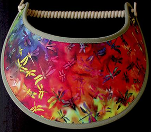 Foam sun visor with orange, red and green dragonflies