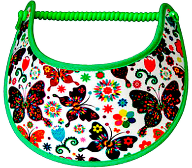 Foam sun visor with butterflies & flowers