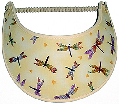 Foam sun visor with dragonflies on tan