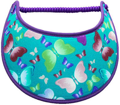 Foam sun visor with butterflies on teal