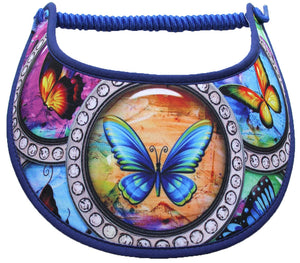 sun visor with single butterflies in frames