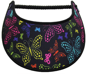 Foam sun visor with colorful dot butterflies