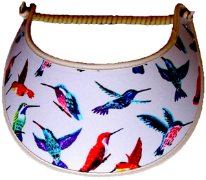 Foam sun visor with colorful hummingbirds on tan