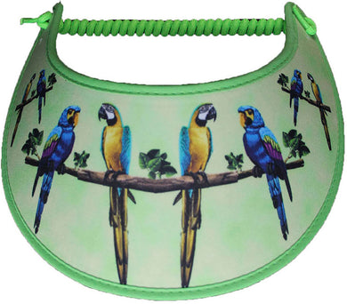 Foam sun visor with pet birds on lime green with lime fabric trim