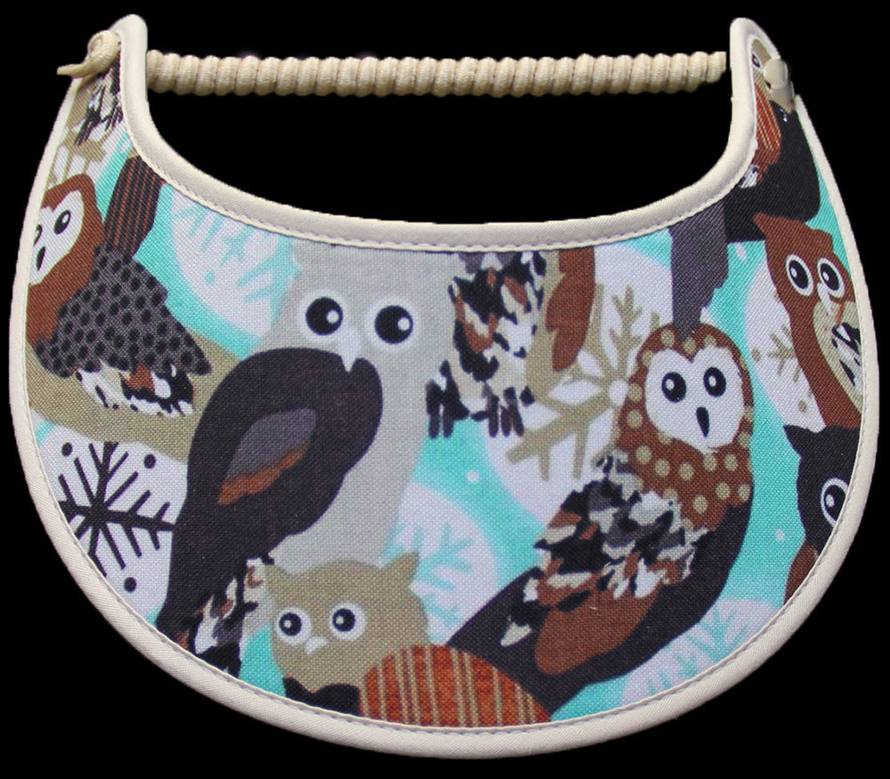 Ladies sun visor with Winter Owls