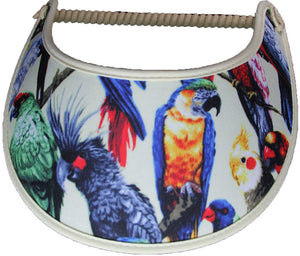 Foam sun visor with pet birds cream with cream trim