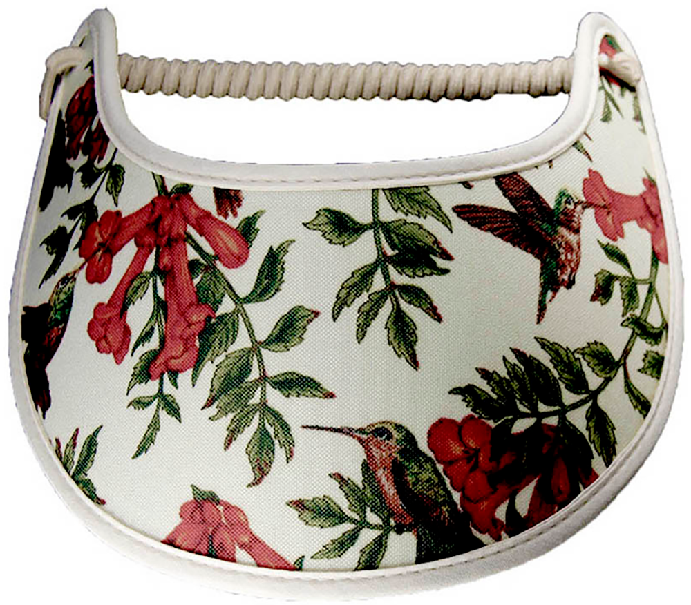 Foam sun visor with hummingbirds and flowers trimmed with cream fabric