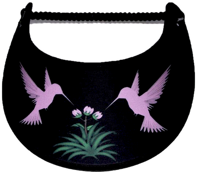 Foam sun visor with pink hummingbird on black trimmed with black