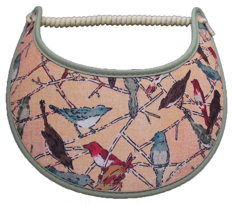 Foam sun visor with assorted birds on tan with light green trim