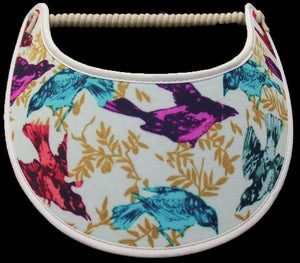 Ladies sun visor with birds in assorted colors