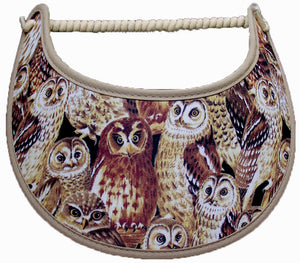 Foam sun visor with owls in shades of brown and edges trimmed with khaki fabric