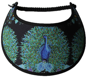 Foam sun visor with colorful peacocks on black with edges trimmed in black