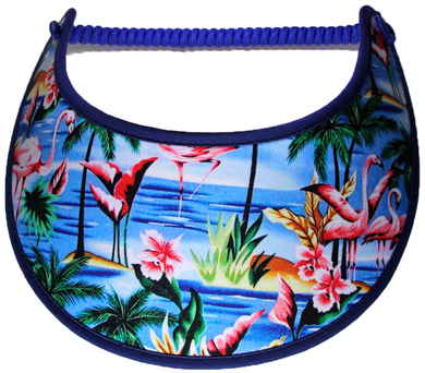 Foam sun visor with flamingo in blue waters