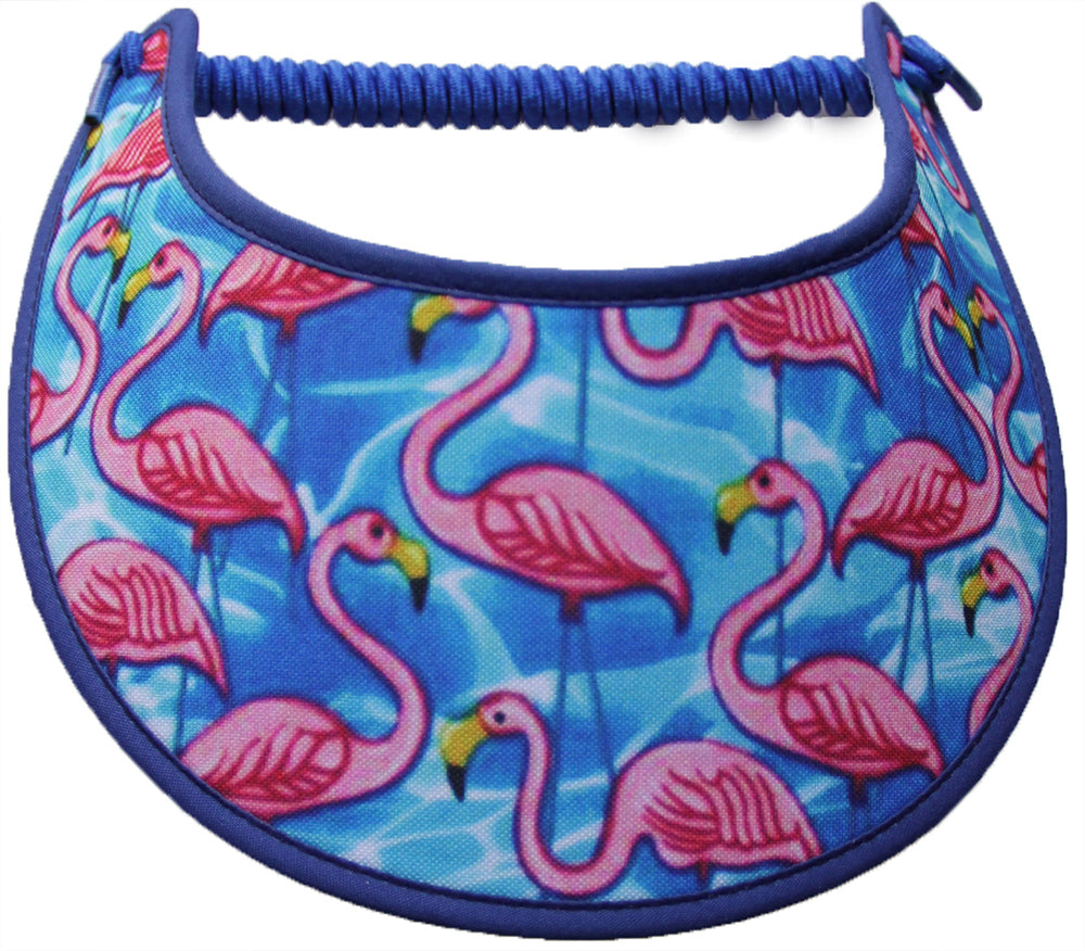 Ladies sun visor with flamingos and dark blue trim