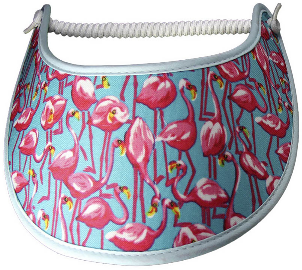 Foam sun visor with flamingoes-pink on aqua