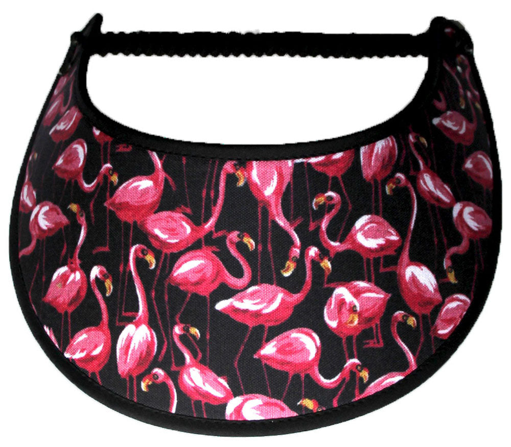 Foam sun visor with flamingoes on black