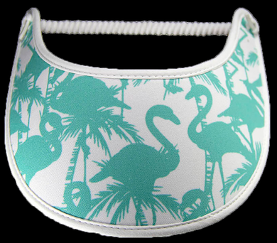 Foam sun visor with aqua silhouettes of flamingoes on white