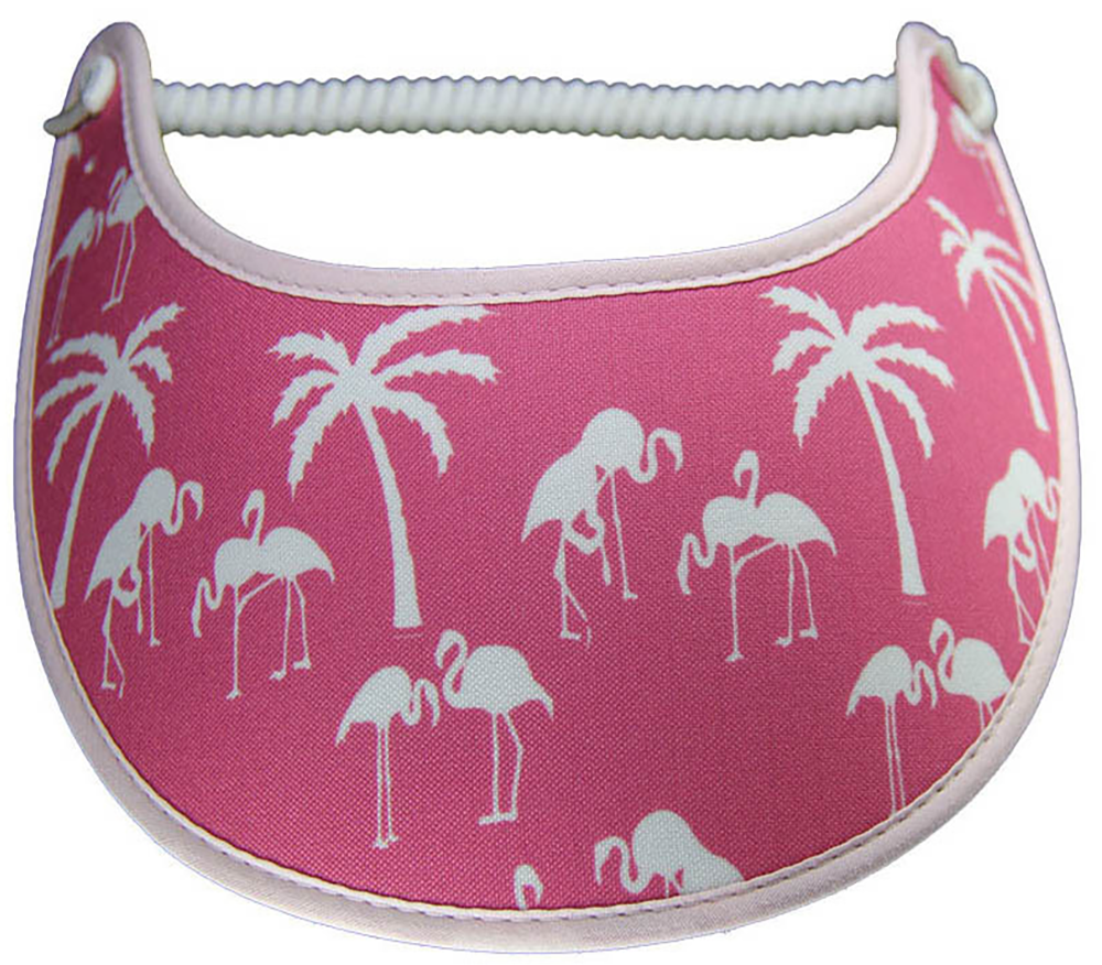 Foam sun visor with  silhouettes of flamingoes and palm trees on pink
