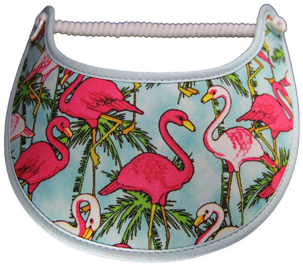 Foam sun visor with flamingoe in aqua waters