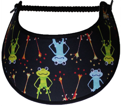 Foam sun visor with standing frogs on black background