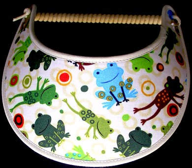 Foam sun visor with happy frogs on tan background