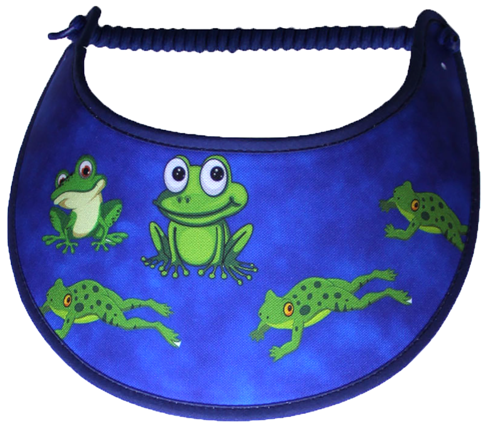 Foam sun visor with green frogs on a royal blue background