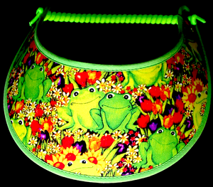 Ladies foam sun visor with green frogs sitting in the tulips