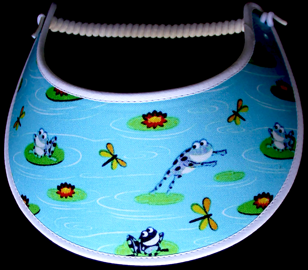 Foam sun visor with frogs playing in the pond