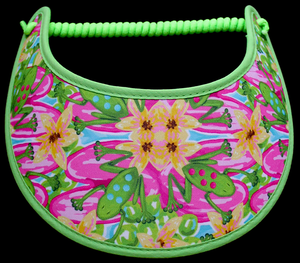 Ladies foam sun visor with frogs and flowers:
