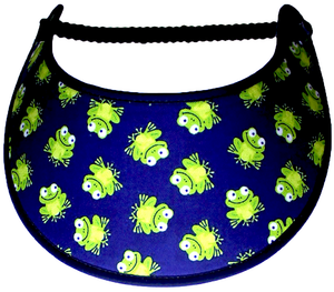 Foam sun visor with mini frogs on navy background