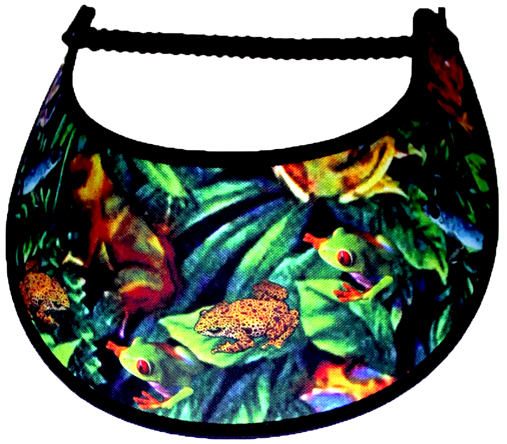 Foam sun visor with multicolored frogs sitting on green leaves