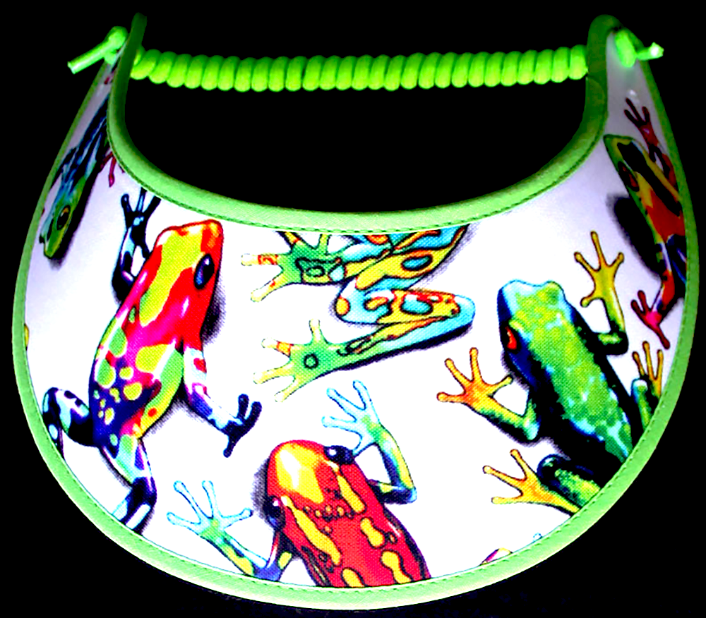 Foam sun visor with multicolored frogs on a white background