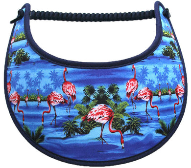 Foam sun visor with flamingos in blue water.