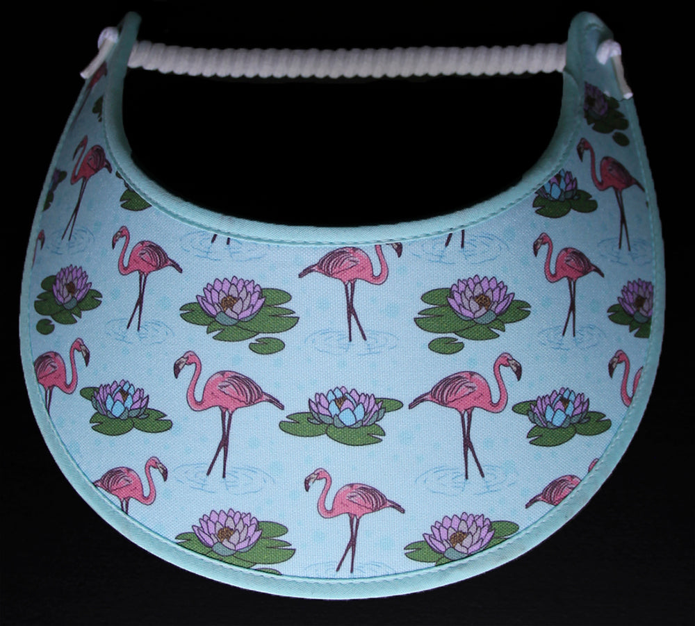 Foam sun visor with flamingos and lillie pads