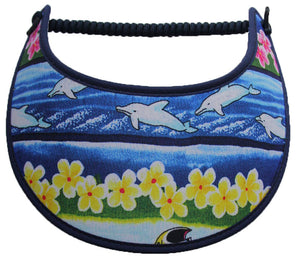 Foam sun visor with dolphins and flowers.