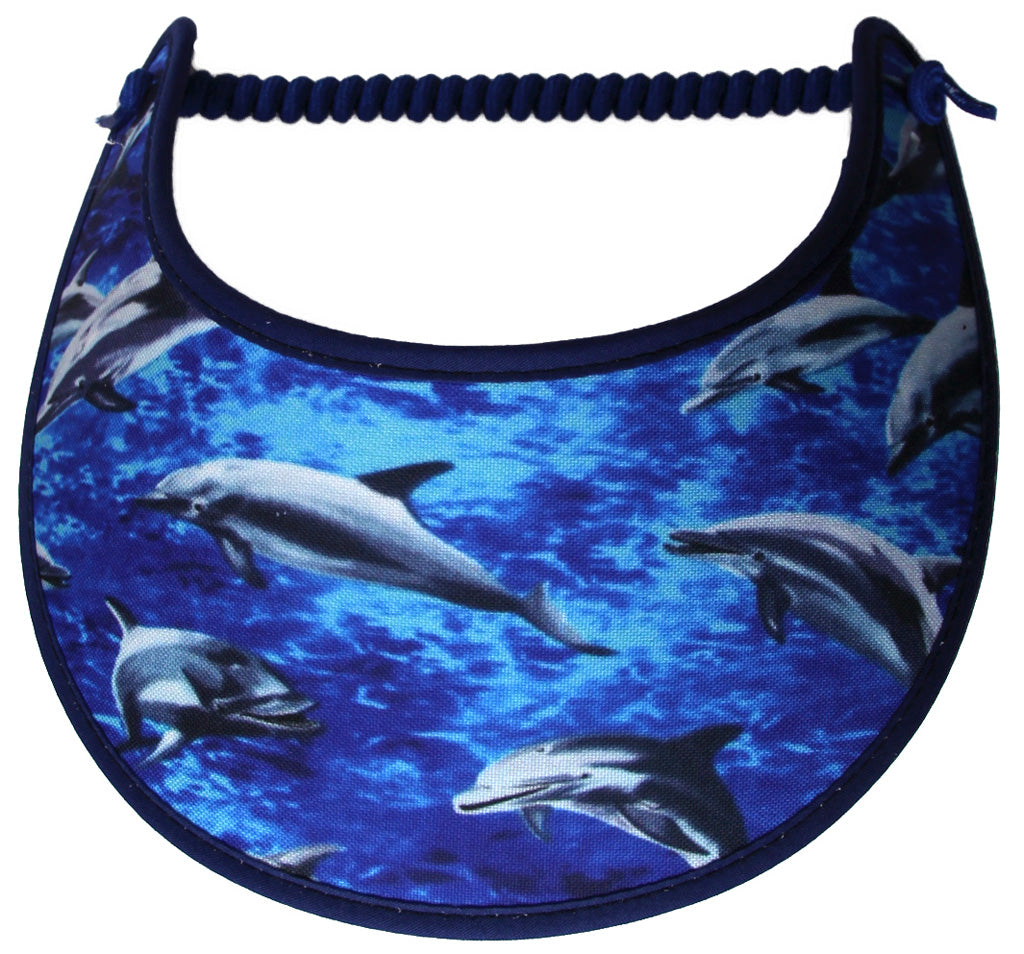 Foam sun visor with dolphins playing.