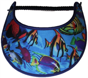 Foam sun visor with assorted fish on blue.