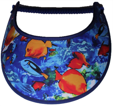 Foam sun visor with bright colored fish.
