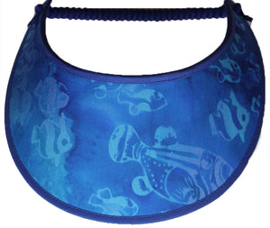 Foam sun visor with fish in muted colors.
