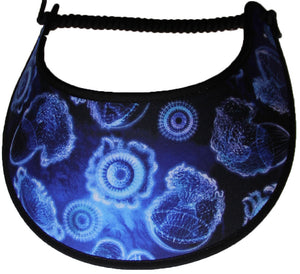 Foam sun visor with jelly fish on blue.