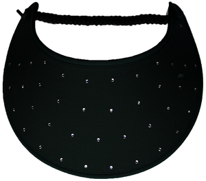 Foam sun visor with rhinestones on black