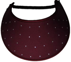Foam sun visor with rhinestones on burgundy